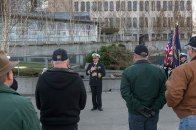 181111-N-DA737-0031 EVERETT, Wash. (Nov. 11, 2018) Capt. Mike Davis, commanding officer of Naval Station Everett, speaks during the Snohomish County Memorial Committee Veterans Day Ceremony. The Memorial Committee is made up of several local service and veterans groups and can trace its history back to 1918. (U.S. Navy photo by Mass Communication Specialist 2nd Class Jonathan Jiang/Released)