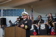 181111-N-DA737-0053 EVERETT, Wash. (Nov 11, 2018) Capt. Mike Davis, commanding officer of Naval Station Everett, speaks at the Veterans Day United Service Organization (USO) dance at the Carl Gibson Senior Center in Everett. This is the 12th year the USO dance has been held at the Carl Gibson Senior Center. (U.S. Navy photo by Mass Communication Specialist 2nd Class Jonathan Jiang/Released)