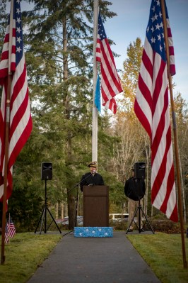 181111-N-EH218-0030 GARDINER, Wash. (Nov. 11, 2018) Capt. Chad Brooks delivers the opening remarks during a memorial honoring Construction Mechanic 3rd Class Marvin Glenn Shields at Gardiner Cemetery. The ceremony paid tribute to the only Seabee Medal of Honor recipient and Vietnam veteran, Shields, who was posthumously awarded the nation's highest military award for his actions and for giving his life to save comrades while under enemy attack. (U.S. Navy photo by Mass Communication Specialist 1st Class Ryan J. Batchelder/Released)