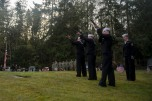 181111-N-EH218-0099 GARDINER, Wash. (Nov. 11, 2018) Sailors assigned to Naval Base Kitsap Funeral Honors Detail fire a 21-gun salute during a memorial honoring Construction Mechanic 3rd Class Marvin Glenn Shields at Gardiner Cemetery. The ceremony paid tribute to the only Seabee Medal of Honor recipient and Vietnam veteran, Shields, who was posthumously awarded the nation's highest military award for his actions and for giving his life to save comrades while under enemy attack. (U.S. Navy photo by Mass Communication Specialist 1st Class Ryan J. Batchelder/Released)
