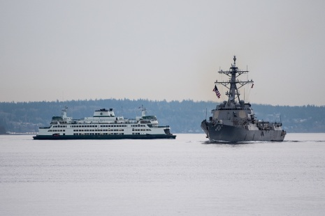 181121-N-DA737-0013 EVERETT, Wash. (Nov. 21, 2018) The guided-missile destroyer USS Shoup (DDG 86) transits the Puget Sound as it returns to its homeport of Naval Station Everett (NSE). Shoup returned to NSE from a cooperative Western Pacific deployment after supporting the Oceania Maritime Security Initiative to enhance regional security and interoperability with partner nations. (U.S. Navy photo by Mass Communication Specialist 2nd Class Jonathan Jiang/Released)