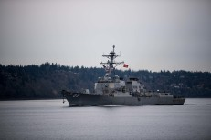 181121-N-DA737-0024 EVERETT, Wash. (Nov. 21, 2018) The guided-missile destroyer USS Shoup (DDG 86) transits the Puget Sound as it returns to its homeport of Naval Station Everett (NSE). Shoup returned to NSE from a cooperative Western Pacific deployment after supporting the Oceania Maritime Security Initiative to enhance regional security and interoperability with partner nations. (U.S. Navy photo by Mass Communication Specialist 2nd Class Jonathan Jiang/Released)
